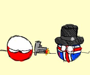 Smug, Upside down Poland ball shoots UK ball