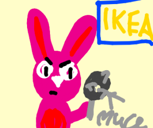 Pink bunny with mace in IKEA
