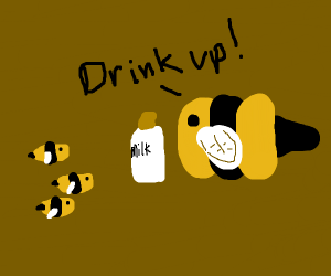 Bee giving milk to baby bees