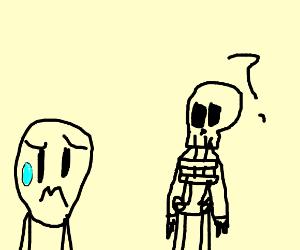 Child scared of spooky skeleton
