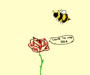 angel bee being tempted by an evil flower
