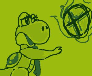 Yoshi looking at a Smash Ball