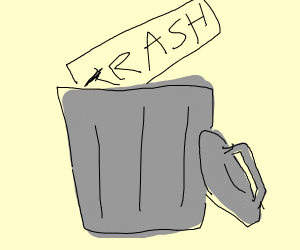 """a trash can and the word """"TRASH"""""""
