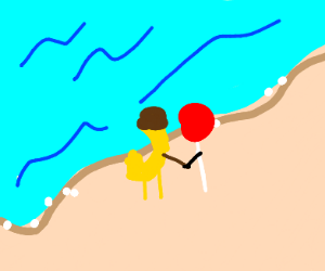 Banana and a lollypop holding hands on beach