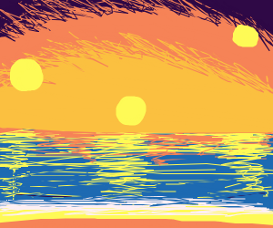 Sunset on ocean with three suns