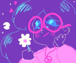 Hippy girl picks roses at dusk