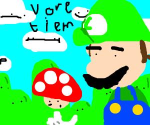 Luigi got the mega mushroom