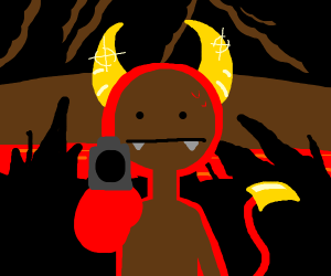 Demon with golden horns holds u at gun point
