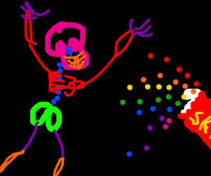 colorful skeleton loves skittles