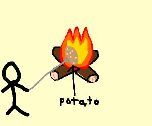 Roasting Potatoes over a fire