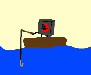 a do not press button goes fishing