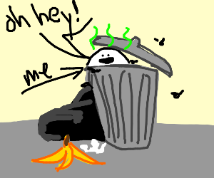 guy in trash can