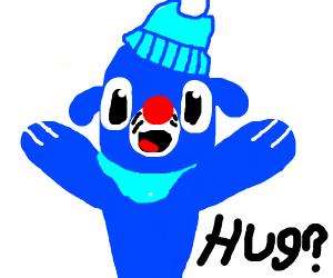 Blue animal wants a hug