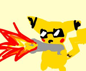 Pikachu with a flametgrower