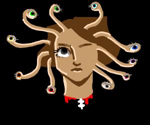 Floating head w one eye and ten tentacle eyes