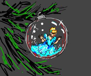 Cinderella stuck inside Christmas ornament
