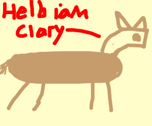 """a horse saying """"helb iam clary"""""""