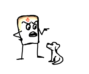 toasted marshmallow freaking pissed at dog