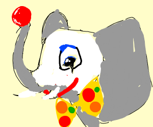 a clown elephant