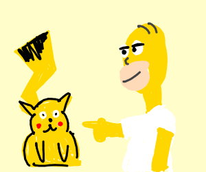 Homer Simpson poking a obese Pikachu