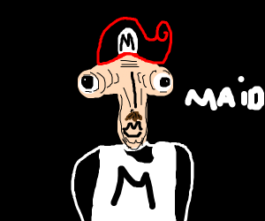 Mario dressed as a maid