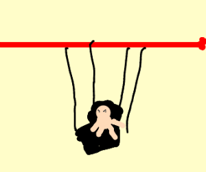 angry baby on a swingset