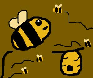 bees near their hive