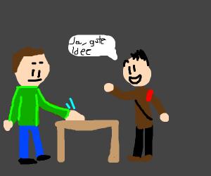 Man  hits stool, nazi man approves
