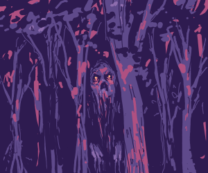 A creature sticking its head out of a forest
