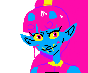 blue alien girl with pink hair