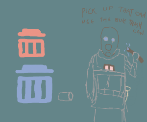 use the blue trash can