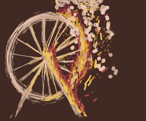 a ferris wheel on fire