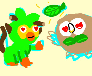 grookey and rowlet share love for a leaf