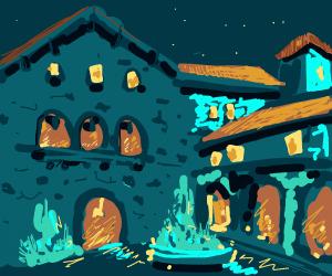 Beautiful nightime courtyard
