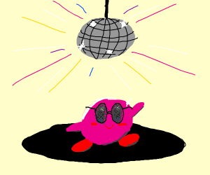Kirby with sunglasses at a disco