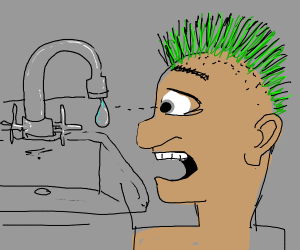 Man Green Mohawk is surprised at water
