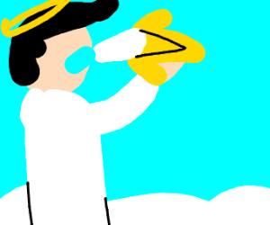 A man eating a banana