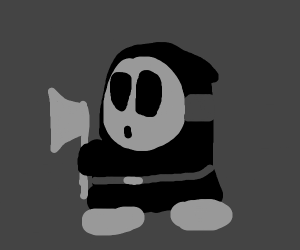 Black Shy Guy with an axe in the dark