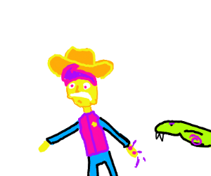 Woody got bitten by snake