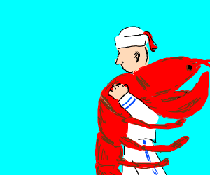 Sailor man carries gigantic lobster