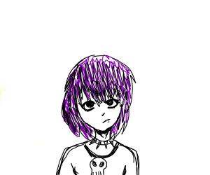 A punk female teen with purple hair