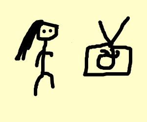 woman watching okay emoji on TV