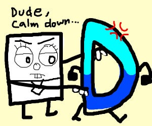 Paper SpongeBob tells Drawception D to calm
