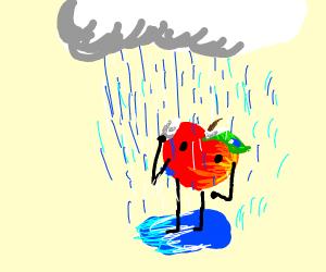 Apple with limbs and face enjoys rainbathing
