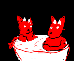 one hot tub for two devil cats