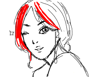 Girl with red hair winks
