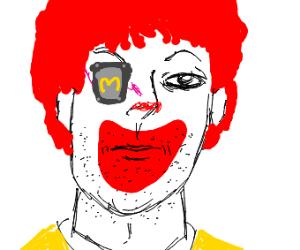 Ronald McDonald with an injured eye