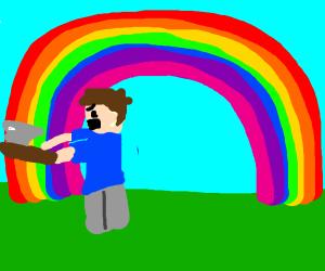 angry guy chops rainbow