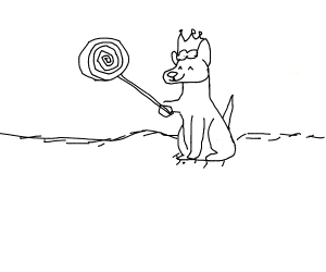 b/w dog king with lollypop