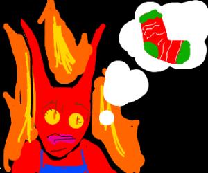 Feminine Satan ponders socks.